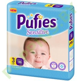 NEW Подгузники Pufies Sensitive 3 Midi (4-9кг) 100шт
