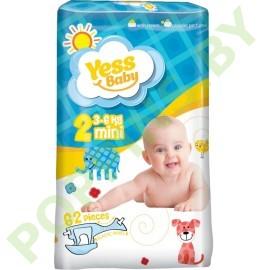 Подгузники Yess baby 2 Mini (3-6кг) 62шт