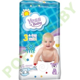 Подгузники Yess baby 3 Midi (4-9кг) 56шт