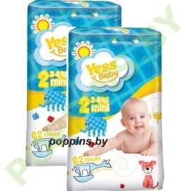 Подгузники Yess baby 2 Mini (3-6кг) 62x2=124шт