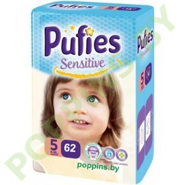 NEW Подгузники  Pufies Sensitive 5 Junior (11-20кг) 62шт