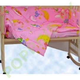 """Комплект постельного белья 6 предметов """"Баю-Бай"""" Мишки на луне (розовый) на рез."""