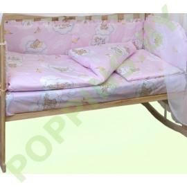 """Комплект постельного белья 6 предметов """"Баю-бай"""" Медвежата на облаках (розовый)"""