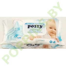 Салфетки влажные Pozzy Mega с крышечкой 120шт голубые