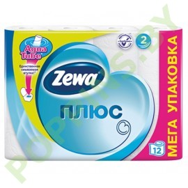АКЦИЯ Бумага туалетная Zewa Плюс (2 слоя) белая 12рул