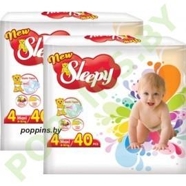 Подгузники Sleepy 4 Maxi (8-18кг) 40x2=80шт