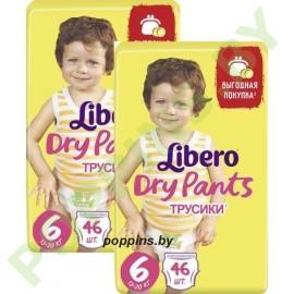 АКЦИЯ Трусики Libero Dry Pants 6 Extra Large (13-20кг) 46x2=92шт