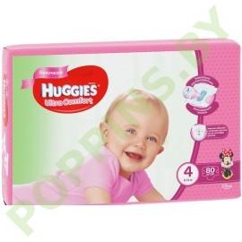 Подгузники для девочек Huggies Ultra Comfort 4 (8-14кг) 80шт