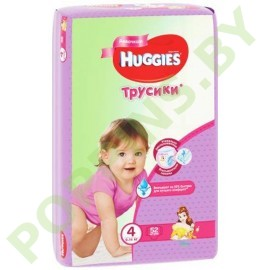 Трусики для девочек Huggies 4 (9-14кг) 52шт
