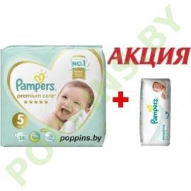 АКЦИЯ Подгузники Pampers Premium Care 5 (11+кг) 28шт+Салфетки