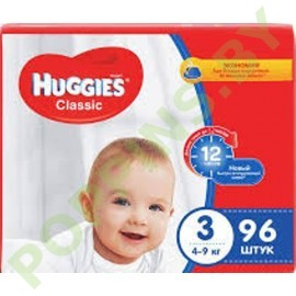 Подгузники Huggies Classic 3 (4-9кг) 96шт
