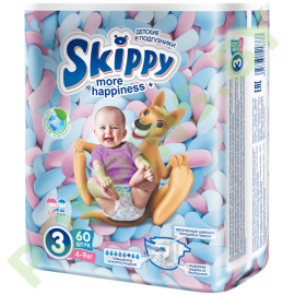 Подгузники Skippy More Happiness 3 (4-9кг) 60шт