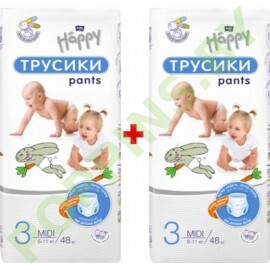 NEW Трусики Bella Baby Happy 3 Midi (6-11кг) 2x48=96шт
