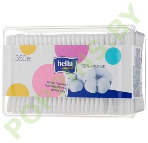Ватные палочки Bella Cotton 350шт (пласт.прямоуг.короб)