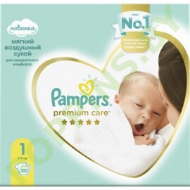 Подгузники Pampers Premium Care 1 (2-5кг) 102шт