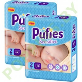 Подгузники Pufies Sensitive 2 Mini (3-6кг) 74x2=148шт