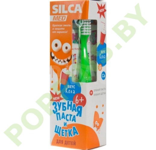 Набор SilcaMed: Зубная паста 6+ (вкус кола) + Зубная щетка (зеленая)