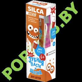 Набор SilcaMed: Зубная паста 6+ (вкус кола) + Зубная щетка (розовая)