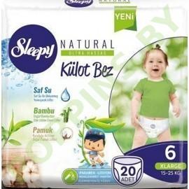 Трусики для детей Sleepy Natural 6 XLarge (15-25кг) 20шт