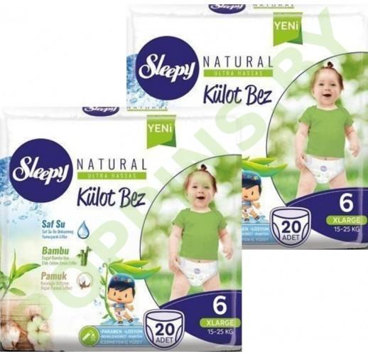 Трусики для детей Sleepy Natural 6 XLarge (15-25кг) 20x2=40шт