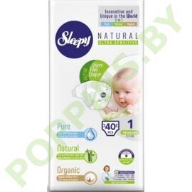 Подгузники для детей Sleepy Natural 1 Newborn (2-5кг) 40шт