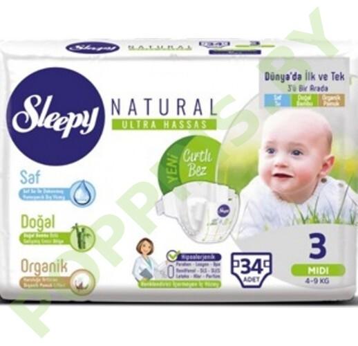 Подгузники для детей Sleepy Natural 3 Midi  (4-9кг) 34шт