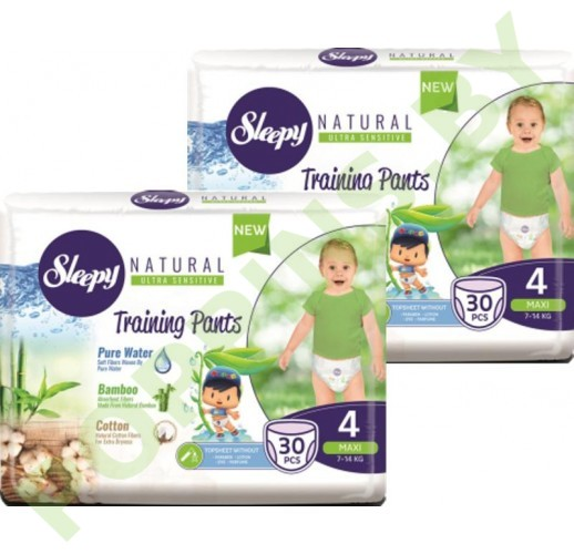 Трусики для детей Sleepy Natural 4 Maxi (7-14кг) 30x2=60шт