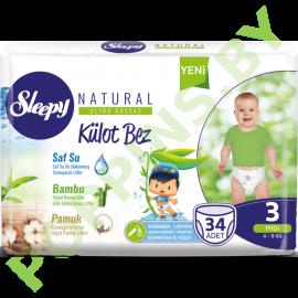 Трусики для детей Sleepy Natural 3 Midi  (4-9кг) 34шт