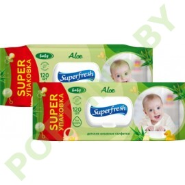 АКЦИЯ Вл.салфетки Superfresh Baby (алоэ) 2x120шт