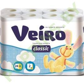 Бумага туалетная Veiro Classic (2 слоя)  24 рул Белая